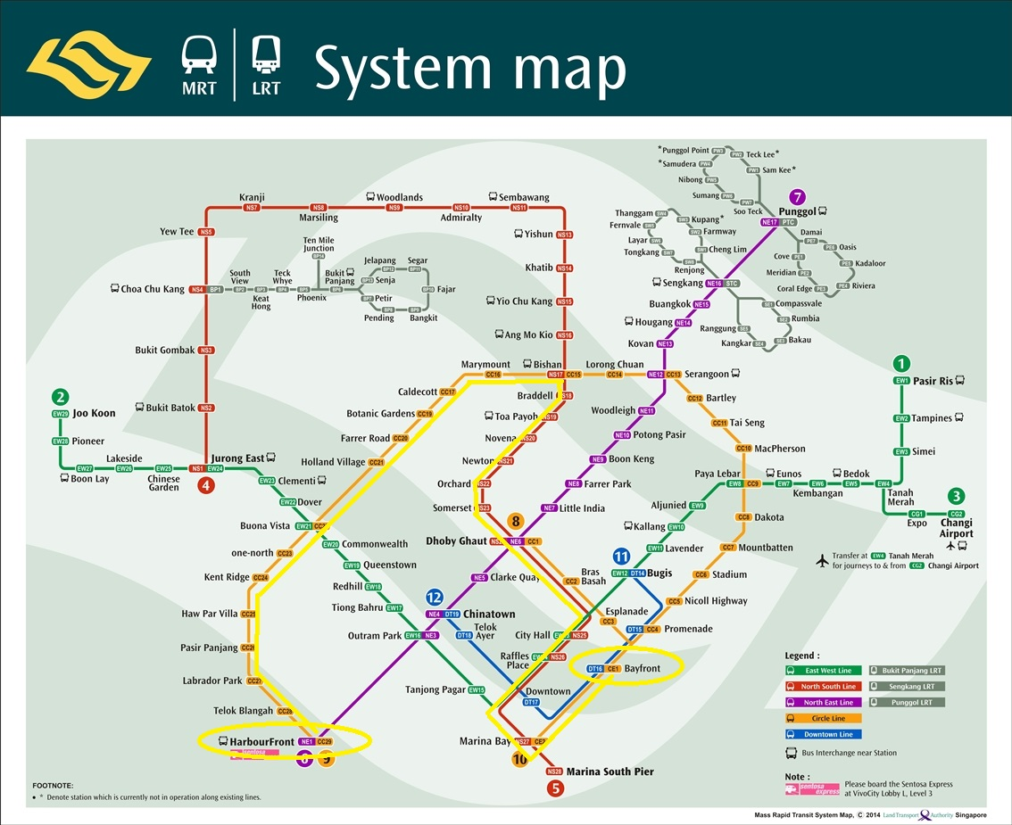 The longest MRT path from Resort World Sentosa to Gardens by The Bay
