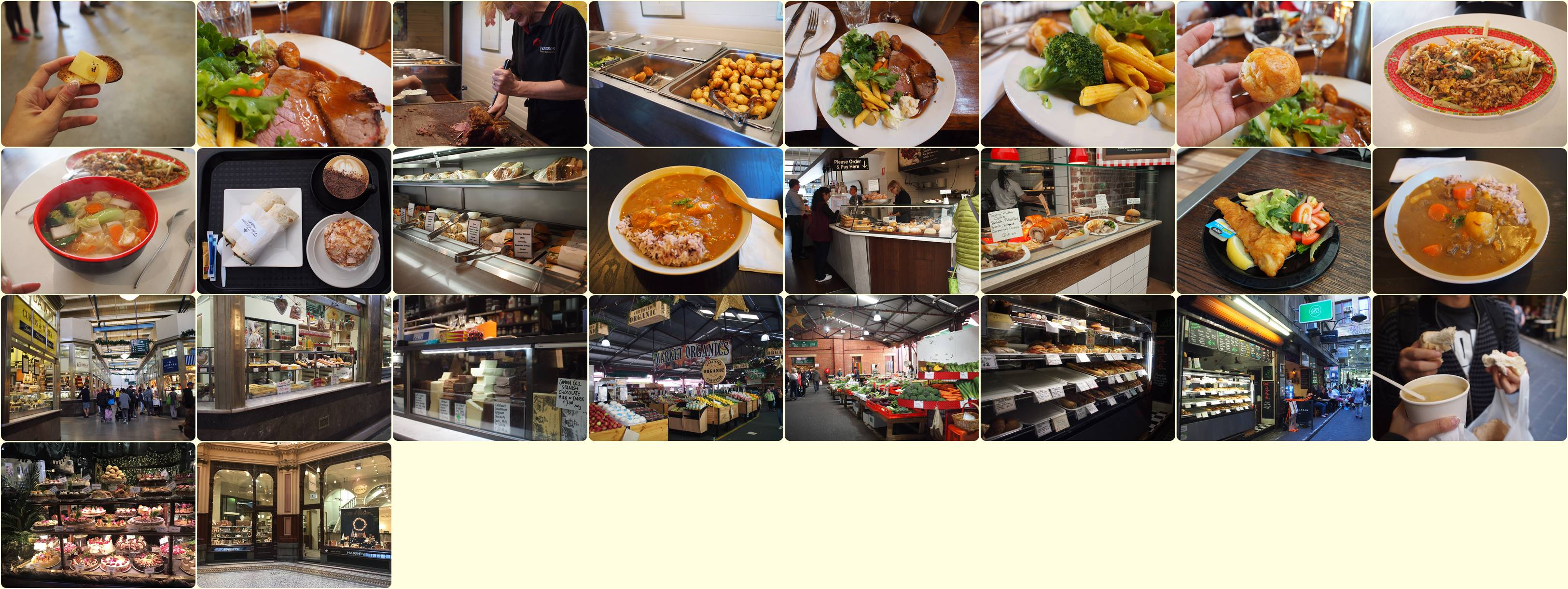 A variety of great cuisines in Melbourne, Australia.