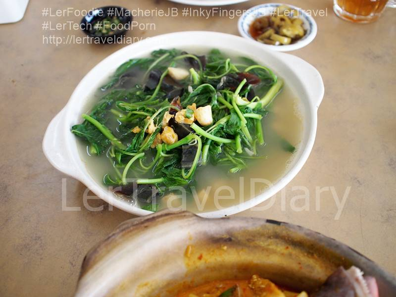 Stir Fried Bayam Vegetables with Century eggs. RM12.00++