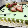 The strawberries are big and sweet. the green tea moose has some sweet red beans in it to multiply the cake texture.