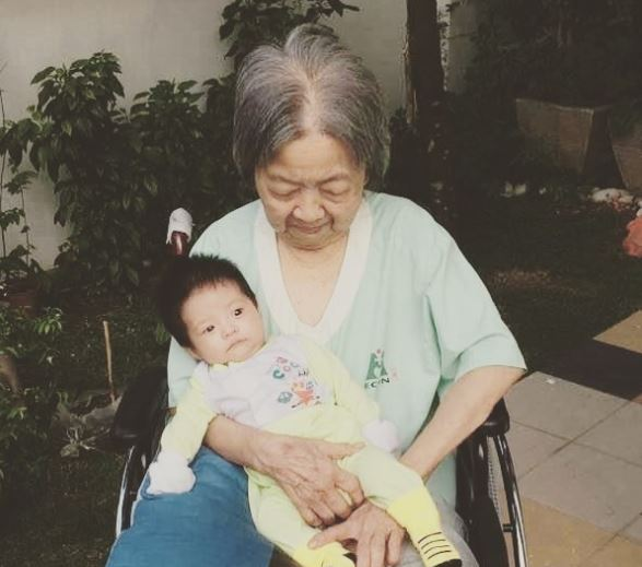 Late grandmother with great grandson