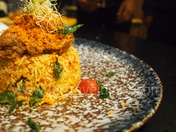 Salted egg with chicken floss fried rice